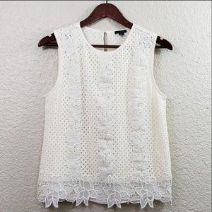 Ann Taylor Crochet lace floral tank size medium